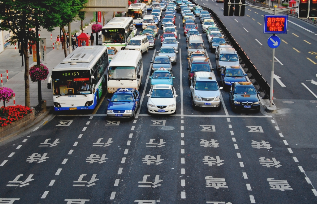 Traffic in Beijing, China.