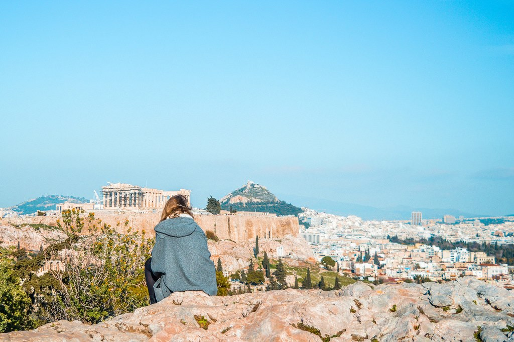 A cityscape view of the Acropolis