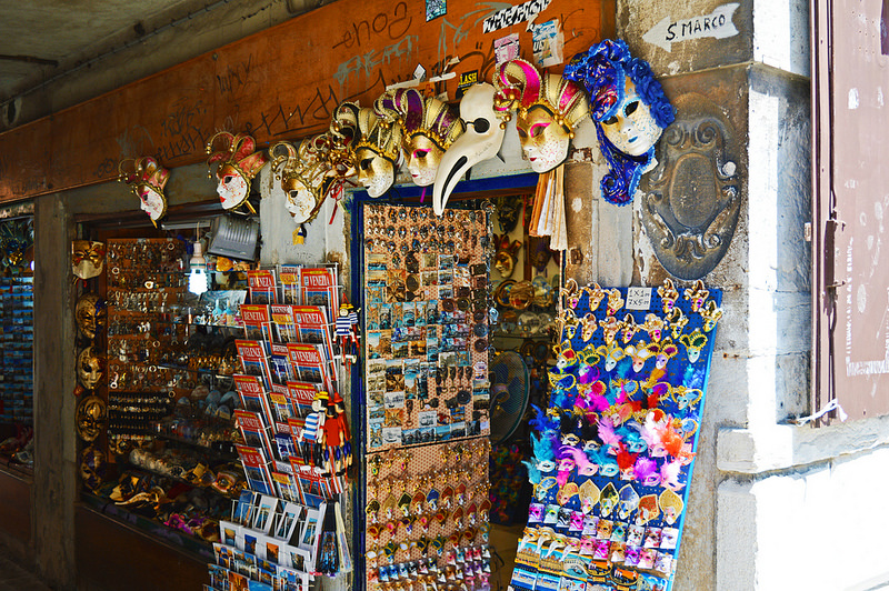 Souvenirs in Venice's historic city centre.
