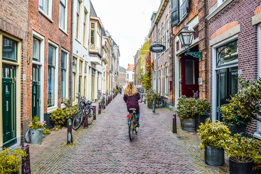 Cycling in Leiden.