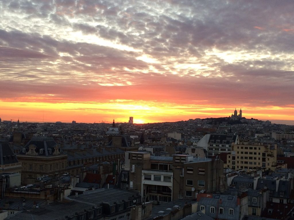 Sunset in central Paris