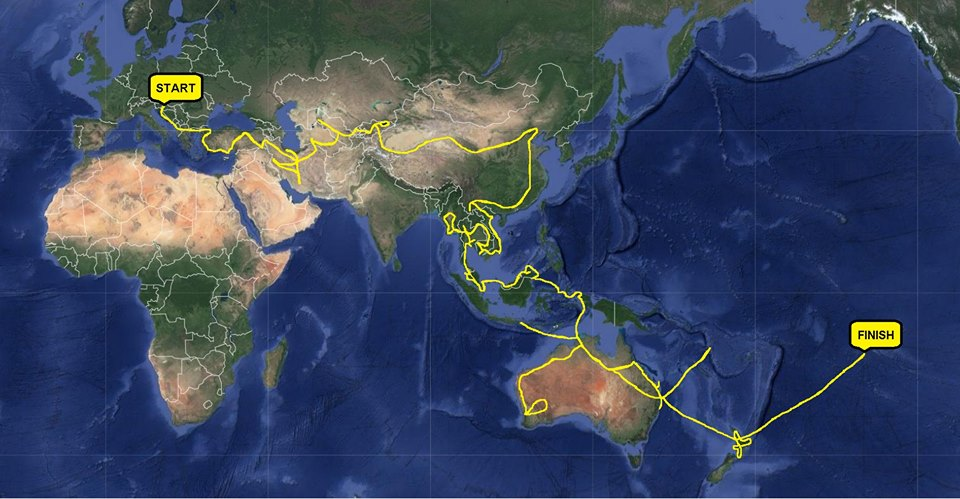 Ana's route across the world
