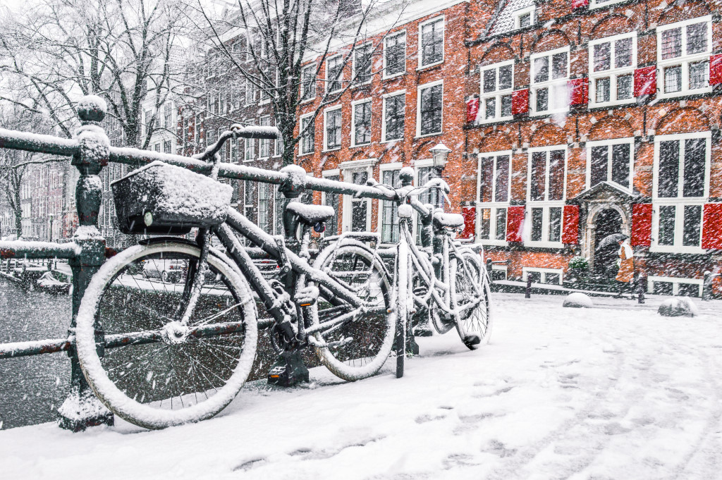 Snow in Amsterdam in December 2017