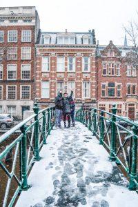 Snowy bridge in Amsterdam