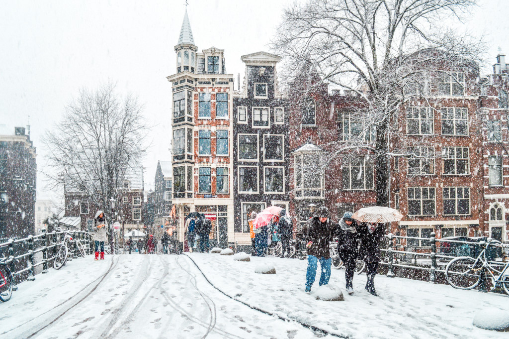 Snow in Amsterdam after a winter storm