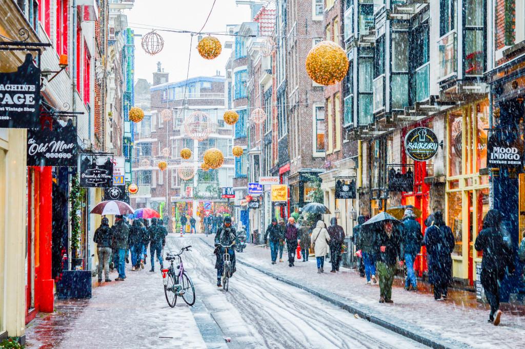 Amsterdam street in December