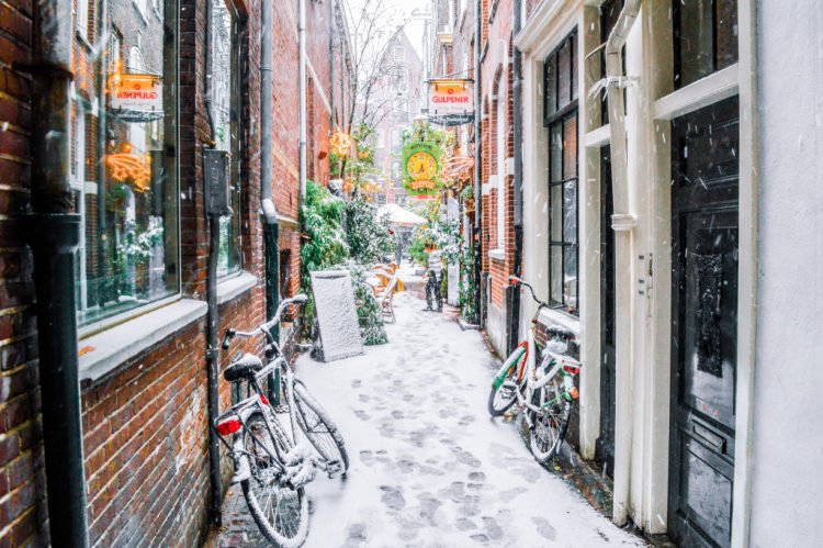 Snowy street in Amsterdam in December