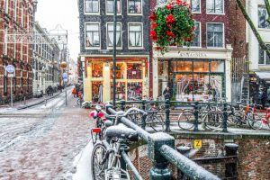 Snow in the streets of Amsterdam