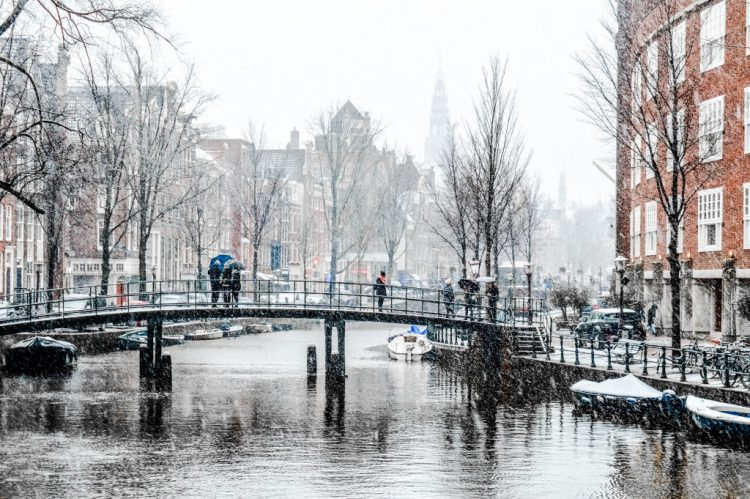 Winter scene in Amsterdam