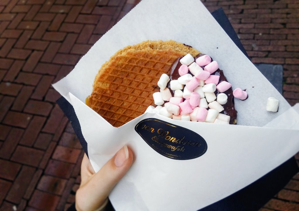 Special Stroopwafels in Amsterdam, covered in choclate and marshmallows
