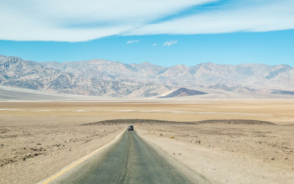 Driving through Death Valley in the United States