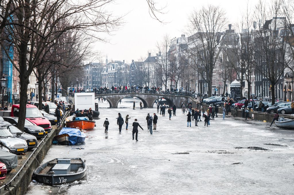 Frozen canals in Amsterdam