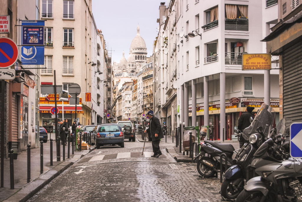 A street view of Montmartre, one of the city's main districts