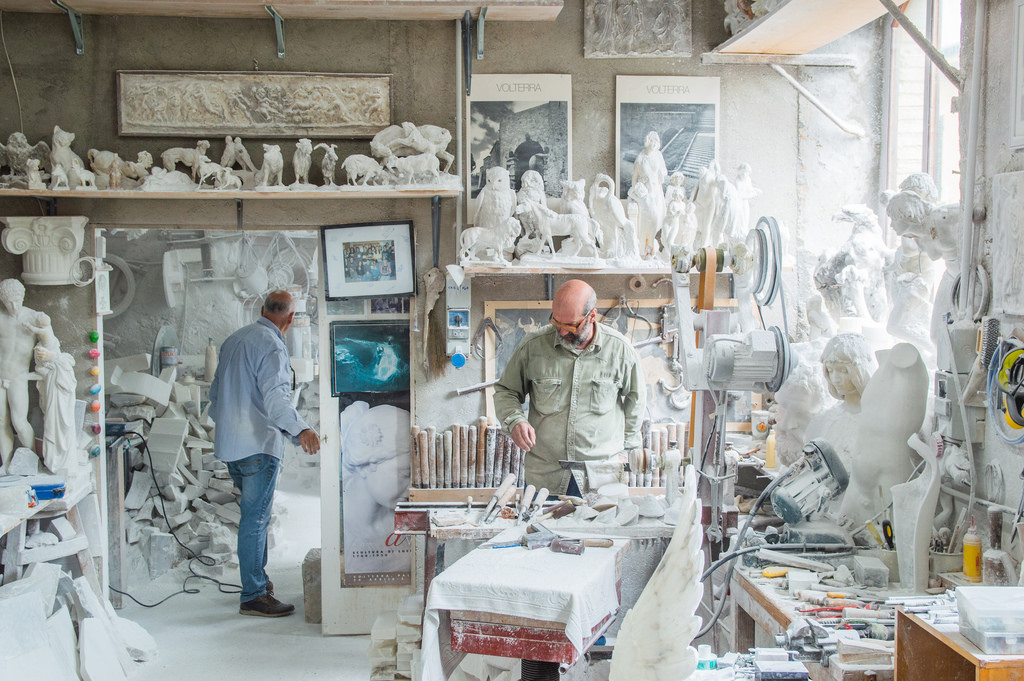 Alabaster studio in Volterra