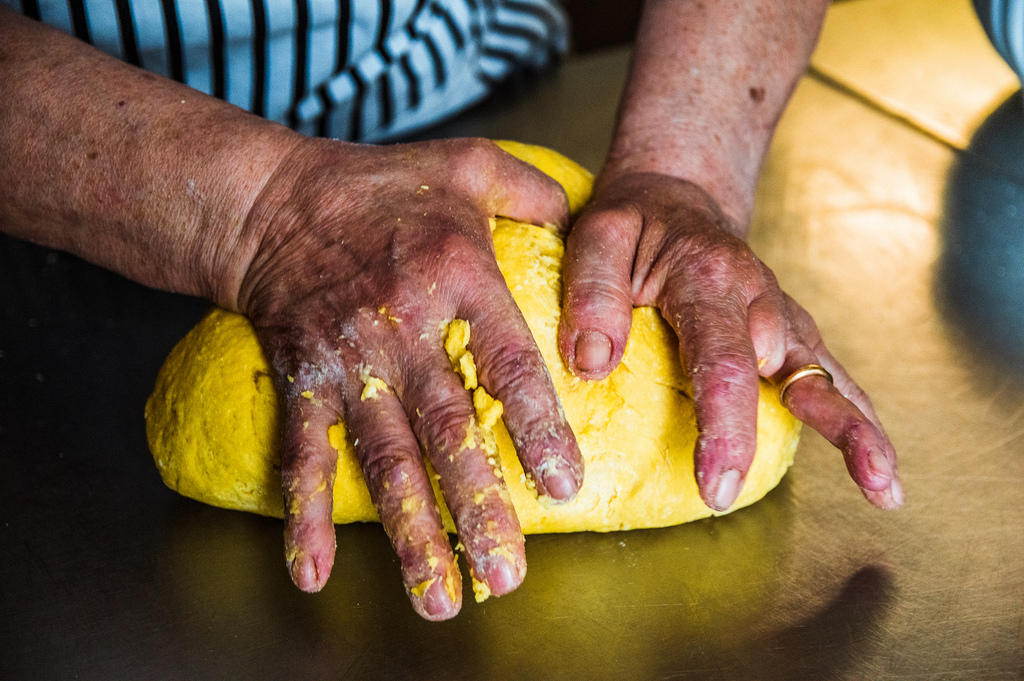 Nonna Anna kneads the pasta dough