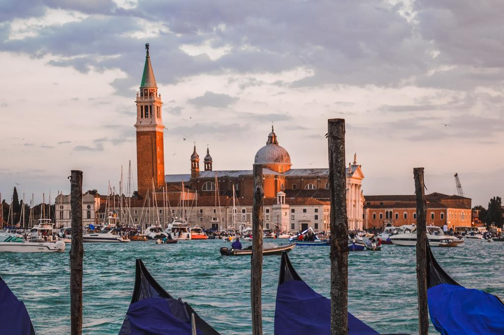 Sunset in Venice, in the San Marco Basin.