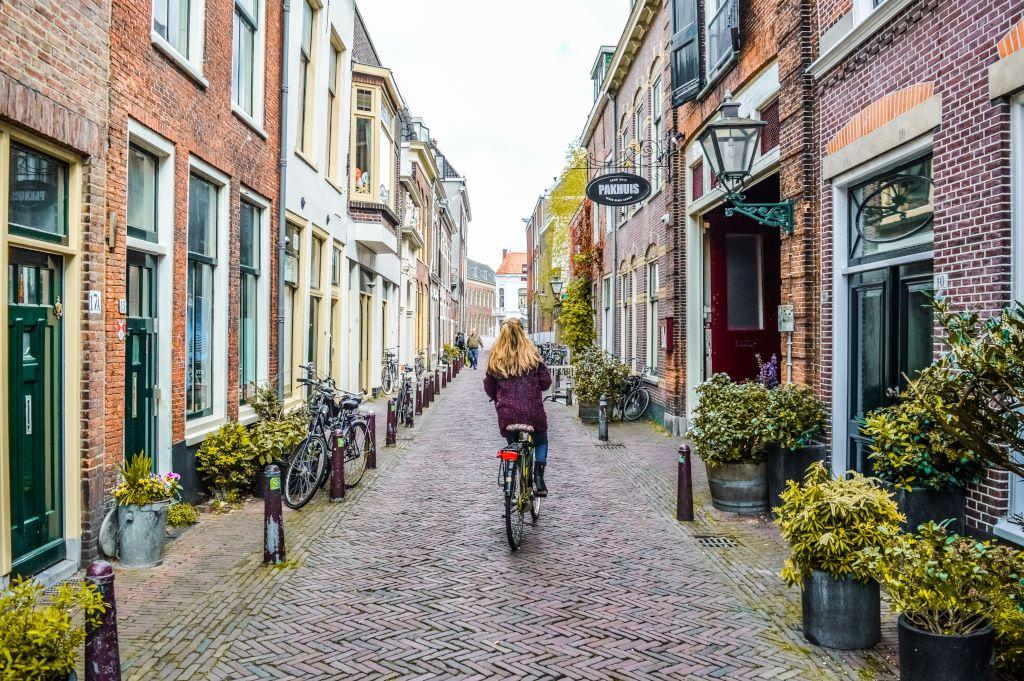 Cycling in Leiden.