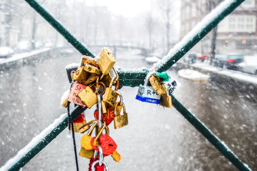 Snowy day in Amsterdam