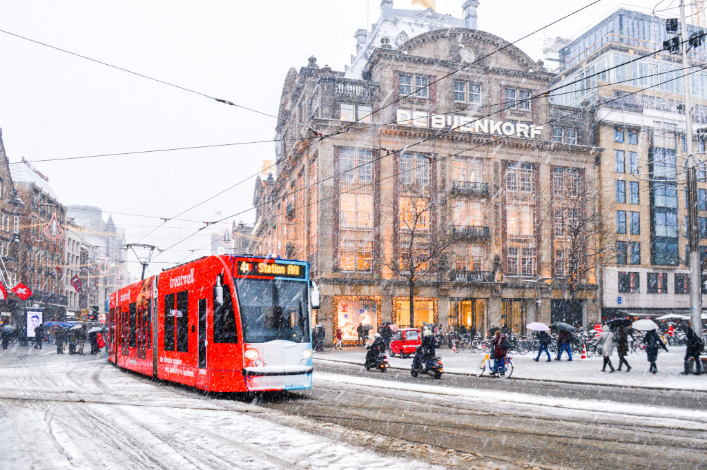 Snow in Central Amsterdam