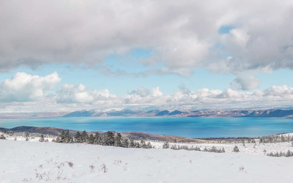 The icy blue Bear Lake is on the Utah-Idaho border