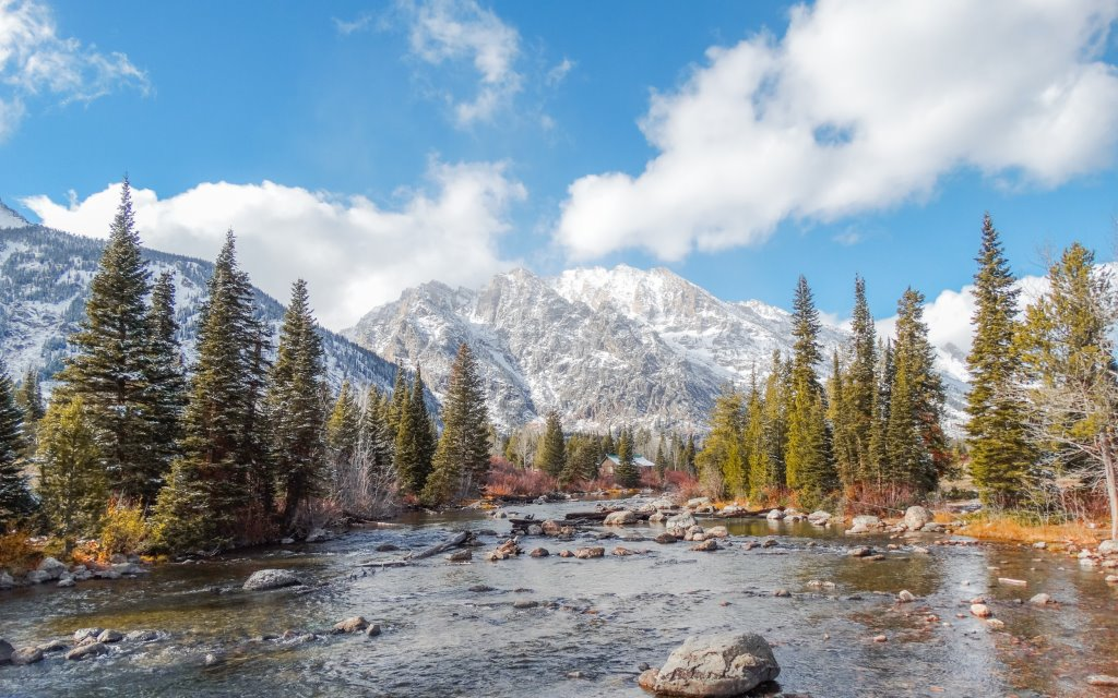 Grand Teton National Park on a sunny day: a blue sky, a rugged river and a snowy mountain in the distance.