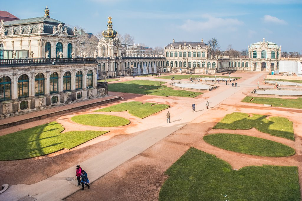 An overview of the Zwinger courtyard in Dresden