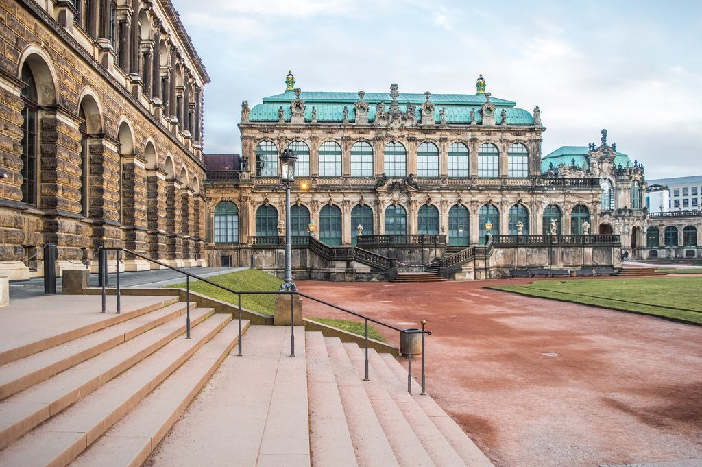 The Zinger in Dresden has a large courtyard surrounded by long rows of beautiful builidngs