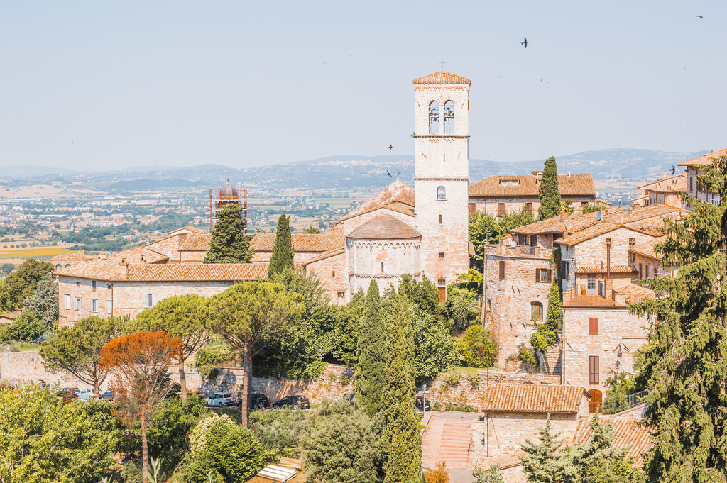 Cityscape view of Assisi, a place of pilgrimage in Italy