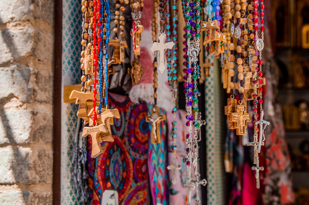 Religious souvenirs in Assisi, Italy