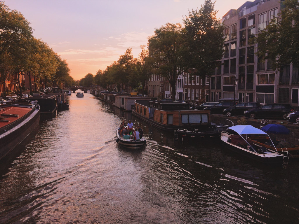 Summer sunset on the canals of Amsterdam
