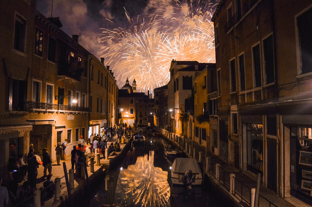 Fireworks in Venice on the night of the Festa de Redentore