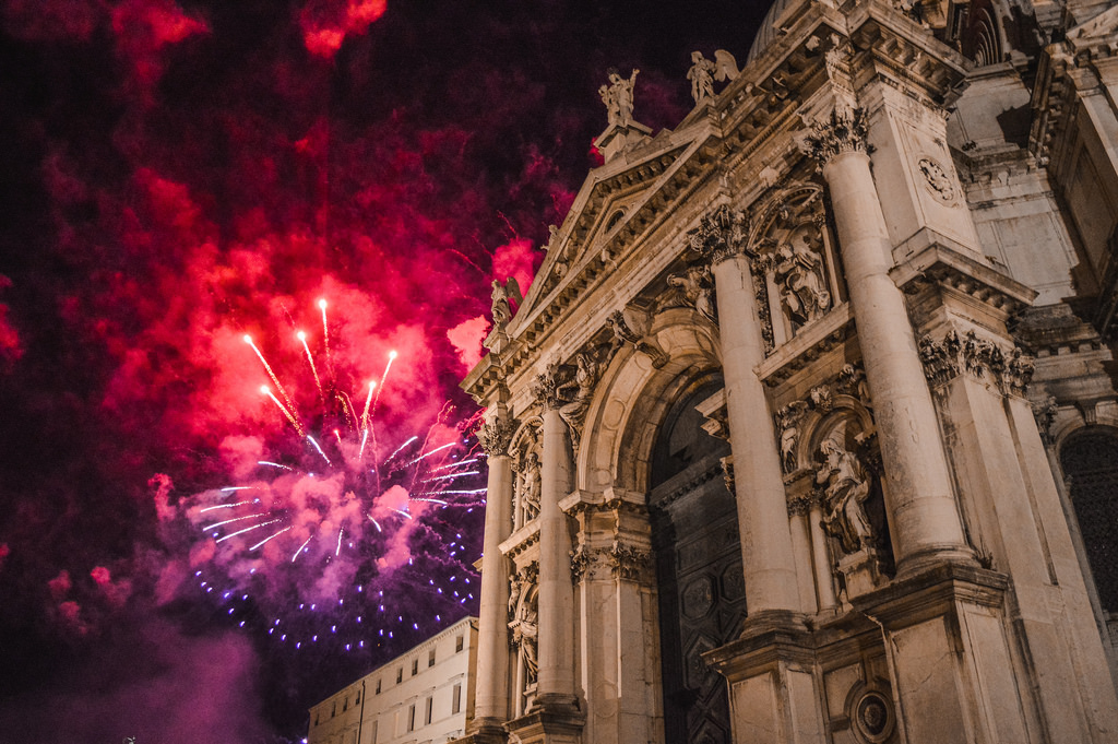 Fireworks in Venice on the night of the Festa del Redentore