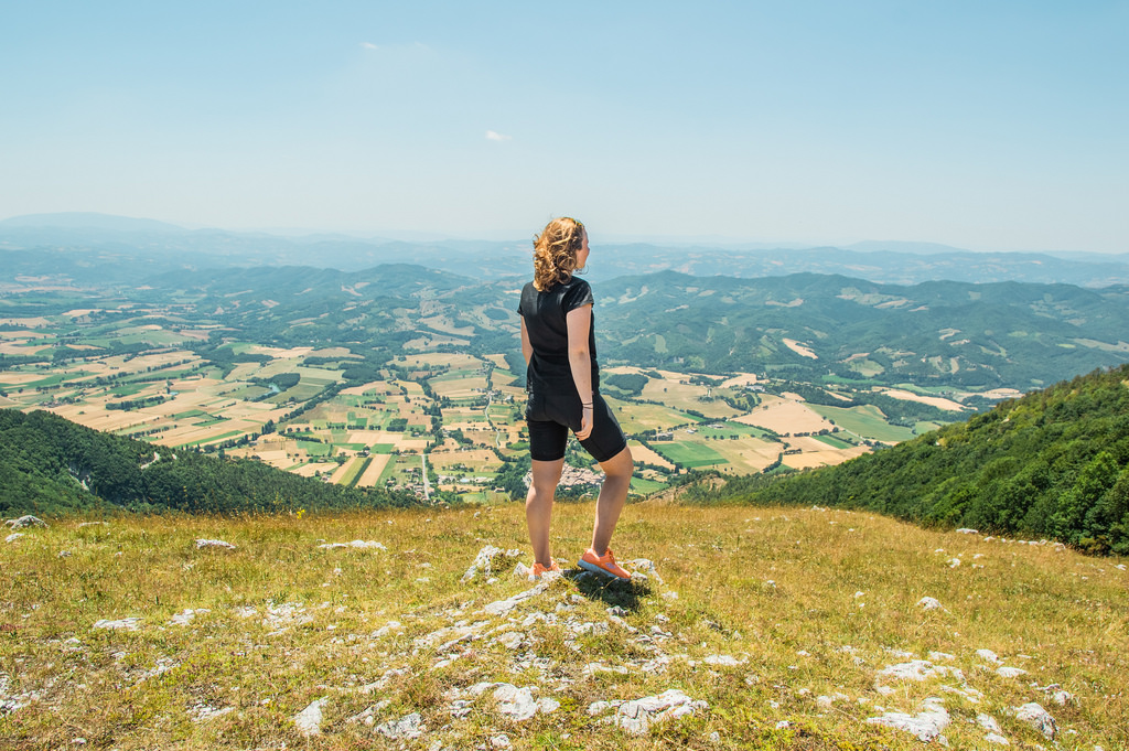 Roselinde standing on top of Monte Cucco in Umbria