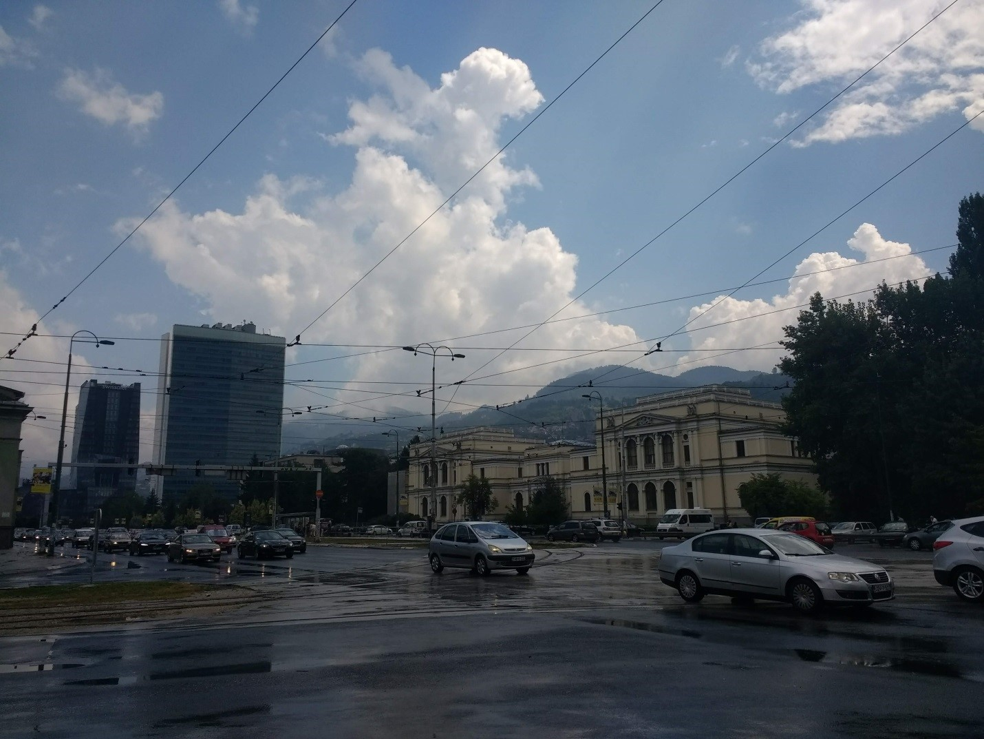 Crossing with tram lines in front of the National Museum of Bosnia and Herzegowina.