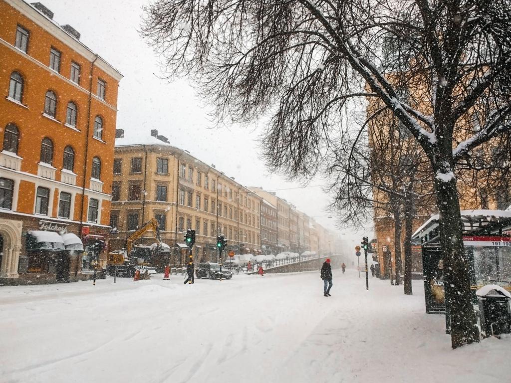 Street in Stockholm in winter